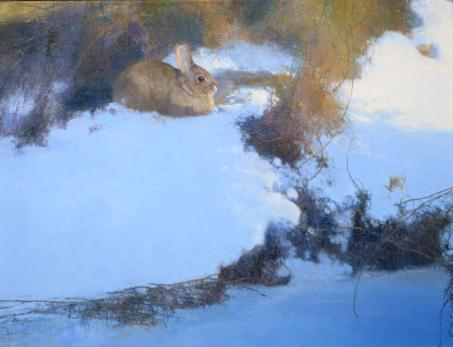 A Place In The Sun - Cottontail Rabbit - 1997 - Oil On Panel - 18 x 24 -  Johnson & Johnson Permanent Collection